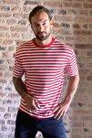 Kırmızı Erkek Geniş Kesim Bisiklet Yaka Kısa Kollu Çizgili T-Shirt TMNSS20TS0511