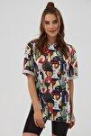 Kadın Pembe Yırtmaçlı Oversize Kısa Kollu  T-Shirt