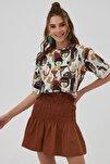 Kadın Kahverengi Yırtmaçlı Oversize Kısa Kollu T-Shirt