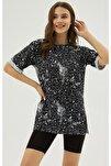 Kadın Siyah Yırtmaçlı Oversize Kısa Kollu Tişört P21s201-2121
