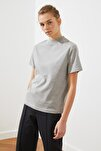 Gri Dik Yaka Örme T-Shirt TWOAW20TS0096
