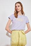 Lila Baskılı Basic Örme T-Shirt TWOSS20TS0267