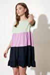 Mint Renk Bloklu Örme Elbise TWOSS20EL1638