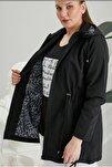 Kadın Siyah Iç Astar Leopar Desenli Büyük Beden Trençkot