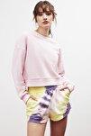ELIZABETH Kadın Pembe Yuvarlak Yaka Düşük Omuz Sweatshirt