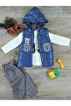 Erkek Bebek Çocuk Alt Üst Yelek 3 Parça Takım 6-12-18 Ay