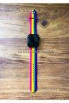 Apple Watch 1 2 3 4 5 6 Se 38 - 40 Mm Spor Kordon Silikon Kayış Gökkuşağı Mor M/l