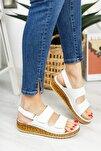 Hakiki Deri Beyaz Kadın Deri Sandalet Dp16-0303