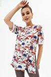 Kadın Yırtmaçlı Oversize Kısa Kollu Tişört P21s201-2121