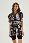 Kadın Siyah Pembe Baskılı Yırtmaçlı Oversize Kısa Kollu Tişört P21s201-2121