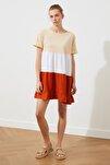 Bej  Elbise Renk Bloklu Örme Elbise TWOSS20EL1638