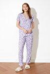Lila Desenli Örme Pijama Takımı THMSS19IP0026