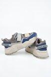 Kadın Sax Mavi Süet Sneaker Dolgu Topuklu Spor Ayakkabı Cakir