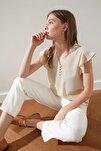 Taş Düğme Detaylı Yarı Transparan Bluz TWOSS20BZ0894