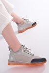 Kadın Gümüş Streç Sneaker Spor Ayakkabı Cunka