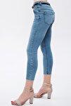 Kadın Mavi Kemerli Yüksek Bel Likralı Jean 4850107