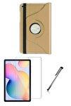 Samsung Galaxy Tab S6 Lite Uyumlu  P610 Dönerli Tablet Kılıf Seti (10.4 Inç) Gold
