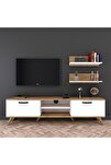 Rani A5 Duvar Raflı Kitaplıklı Tv Ünitesi Modern Ayaklı Tv Sehpası Beyaz Ceviz M48