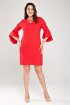 Kadın Kırmızı Kol Ve Yaka Biye Detaylı Elbise 17LB9108