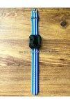 Apple Watch 1 2 3 4 5 6 Se 38 - 40 Mm Spor Kordon Silikon Kayış Gökkuşağı Mavi M/l Beden
