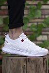 Unisex Beyaz Kırmızı Sneaker 0012075