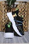 Çocuk Siyah Beyaz Çok Renkli Çizgi Detaylı Örgülü Kalın Taban Sneaker