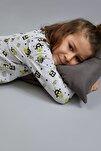 Erkek Çocuk Sevimli Canavar Baskılı Pijama Takımı