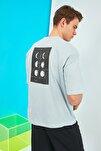 Mavi Erkek Kısa Kollu Sırt Baskılı Oversize T-Shirt TMNSS21TS0617