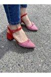 Kadın Mila Kırmızı Kırmızı Ekose Topuklu Ayakkabı