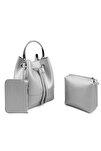 Kadın Metal Askılı 3 Parça Çanta Gümüş