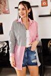 Kadın Gri Çizgili İki Renkli Uzun Kol Salaş Gömlek ARM-21K001193