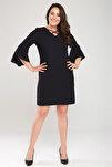 Kadın Siyah Kol Ve Yaka Biye Detaylı Elbise 17LB9108