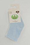 95675 2'Li Organik Bebek Çorabı Ekru-Mavi 12-18 Ay