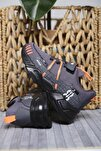 Unisex Çocuk Gri Mc Kimberly Çok Renkli Çizgi Detaylı Örgülü Kalın Taban Sneaker
