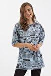 Kadın Açık Mavi Baskılı Yırtmaçlı Kısa Kollu Tişört Y20s110-3124