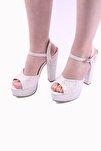 Kadın Beyaz Simli Abiye Ayakkabı