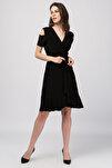 Kadın Siyah Kruvaze Kesim Elbise 18L6251