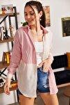 Kadın Pembe Çizgili İki Renkli Uzun Kol Salaş Gömlek ARM-21K001193