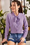 Kadın Lila Yakasi Bağlamali Desenli Gömlek ARM-20K001150
