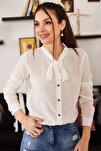 Kadın Beyaz Yakasi Bağlamali Desenli Gömlek ARM-20K001150