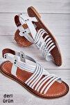 Hakiki Deri Beyaz Kadın Sandalet L06028088