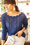 Kadın Saks Mavi Kayık Yaka Baharlık Triko Bluz BLZ-19001070