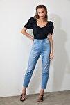 Lacivert Yırtıklı Yüksek Bel Mom Jeans TWOAW21JE0256