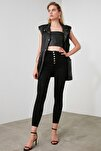 Siyah Dikiş Detaylı Düğmeli Süper Yüksek Bel Skinny Jeans TWOAW20JE0342