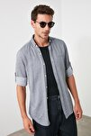 Siyah Erkek Gömlek Yaka Fileto Cepli Apoletli Slim Fit  Gömlek TMNSS20GO0123