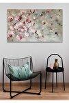 90x130 Pembe Çiçek Duvar Kanvas Tablo