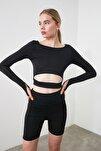 Siyah Bel Detaylı Crop Spor Bluz TWOAW21BZ0156