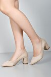 Bej Süet Kadın Klasik Topuklu Ayakkabı 38918