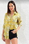 Kadın Sarı Empirme Saten Gömlek