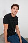 Siyah Erkek Basic Pamuklu Kısa Kollu Bisiklet Yaka  Slim Fit T-Shirt - TMNSS19BO0001